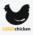 logo with chicken a farm stylized bird black vector image