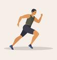 man runs marathon athlete performs a race vector image