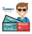 man with summer vacations set icons vector image