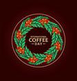 mandala international coffee day vector image vector image