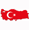 Map of Turkey with national flag vector image vector image