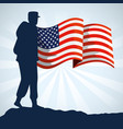 military woman silhouette with usa flag vector image vector image
