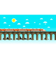 moder train on old bridge over sea flat design vector image vector image