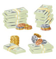 money banknotes stacks 3d cash gold coins vector image vector image