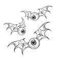monster flying eyeballs with creepy demon wings vector image vector image
