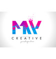 mw m w letter logo with shattered broken blue vector image vector image