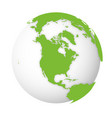 natural earth globe 3d world map with green lands vector image vector image