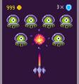 pixel game space graphics 8 bit aliens spacecraft vector image vector image
