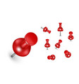 realistic detailed 3d red push pins different vector image vector image