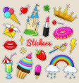 set of girls fashion cute patches fun stickers vector image vector image