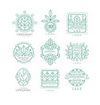 set of original organic logos linear vector image vector image