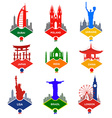 Set of stickers in different countries vector image vector image