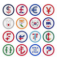 set world curreny flags and symbol vector image vector image