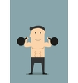 smiling athlete lifting black kettlebells vector image vector image