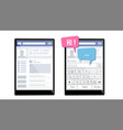 social page on tablet speech bubbles vector image vector image