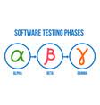 software testing phases alpha beta gamma vector image vector image