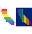 spectrum pixel dotted california map vector image vector image