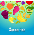 summer time colorful background with fruits vector image vector image