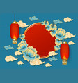 template with red chinese hanging lanterns clouds