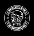 vintage biker skull emblem on black vector image vector image