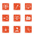 vpn icons set grunge style vector image vector image