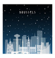 winter night in brussels night city in flat style vector image vector image