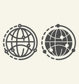 world line and glyph icon earth vector image