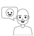 young man happy with emoticon message avatar vector image vector image
