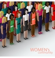 3d isometric of women community with a large group vector image vector image