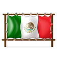 A wooden frame with the flag of Mexico vector image vector image