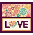 abstract decorative circles love text frame vector image vector image