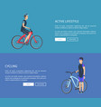 active lifestyle cycling web vector image vector image