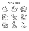 animal icon set in thin line style vector image vector image