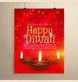 beautiful red flyer for diwali celebration diwali vector image