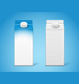 blank carton milk boxes or paper 3d container vector image