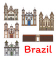 brazilian travel landmark icon for tourism design vector image vector image