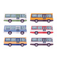 bus set in bright colors vector image