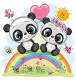 cartoon pandas are sitting on rainbow vector image vector image