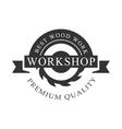Circ Saw And Ribbon Premium Quality Wood Workshop vector image vector image
