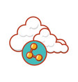 cloud computing server with share symbol vector image vector image