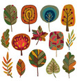 collection of autumn leaves and trees vector image vector image