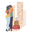 couple greeting each other with a hug flat vector image vector image