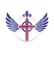cross of christianity religion emblem composed vector image