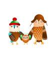 cute happy family wild owl in winter headwear vector image vector image