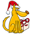 dog with christmas gift cartoon vector image vector image