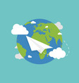 earth globe with plane earth in flat style plane vector image