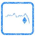 ethereum falling chart framed stamp vector image vector image