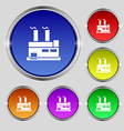 factory icon sign Round symbol on bright colourful vector image vector image