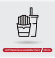 fastfood icon in modern style for web site and vector image vector image