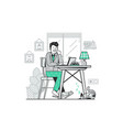 freelancer work from home flat concept vector image